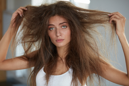 damaged: Damaged Hair. Beautiful Sad Young Woman With Long Disheveled Hair. Closeup Portrait Of Female Model Holding Messy Unbrushed Dry Hair In Hands. Hair Damage, Health And Beauty Concept. High Resolution