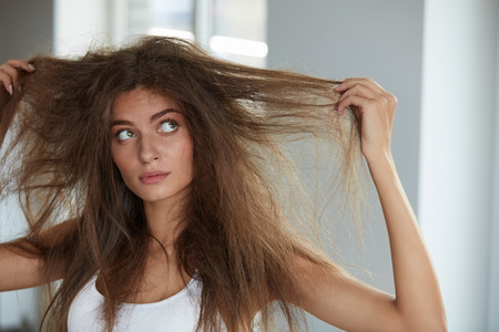tousled: Damaged Hair. Beautiful Sad Young Woman With Long Disheveled Hair. Closeup Portrait Of Female Model Holding Messy Unbrushed Dry Hair In Hands. Hair Damage, Health And Beauty Concept. High Resolution