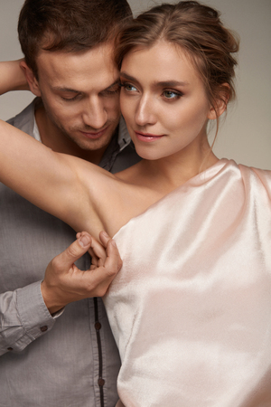 armpits: Body Hygiene. Handsome Man Caressing Beautiful Smiling Woman With Clean Soft Skin On Armpit. Male Gently Touching Sexy Girl Armpit. Female With Fresh Smooth Silky Skin. Couple In Love. High Resolution Stock Photo