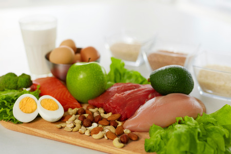 Healthy Foods. Different Food Products On Table. Closeup Of Fresh Organic Vegetables, Variety Of Meats, Food Ingredients On Kitchen Countertop. Balanced Nutrition Concept. High Resolution Standard-Bild