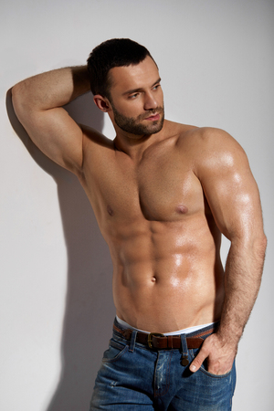 Muscular Male Body Closeup Of Handsome Healthy Young Man With