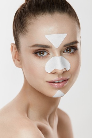 Skin Cleaning. Closeup Beautiful Sexy Girl With White Patches On Forehead, Nose And Chin. Portrait Of Healthy Young Woman With Natural Makeup And  Mask On Clean Fresh Skin. Face Care. High Resolution