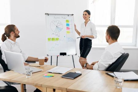 Reunión de grupo. Capacitación empresarial con empleados en la oficina. Exitosa mujer de negocios haciendo presentación para sus colegas, explicando el plan de negocios en el tablero blanco. Alta resolución. Foto de archivo
