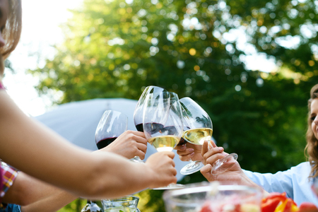 Pessoas torcendo com bebidas no jantar ao ar livre. Feche acima das mãos dos povos que aumentam o brinde com os vidros do vinho, apreciando o piquenique exterior na natureza. Imagem de alta qualidade. Foto de archivo
