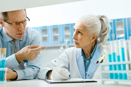 Team Of Scientists In Laboratory With Plant. Mature Man And Woman Talking About Research, Working With Green Plant In Test Tube In Light Laboratory. High Quality Image.