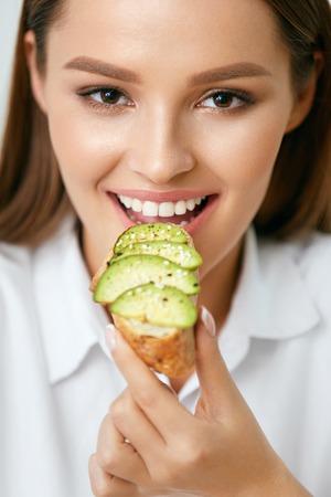 Woman Eating Healthy Diet Food