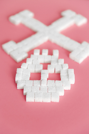 White Sugar Cubes In Form Of Skull. Close Up Of Refined Sugar On Pink Background. Deadly Sugar Addiction. Diabetes And Death Concept. High Quality Imagens - 96878300