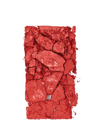 Makeup. Red Blush On White Background. Close Up Of Crushed Broken Blush. Cosmetics Products. High Quality Image. Stock Photo