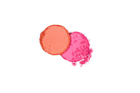 Colorful Crushed Blush Palette On White Background. Close Up Of Different Colors Powder Pressed Blushes. Makeup. Cosmetics Products. High Quality Image. Фото со стока - 98365648