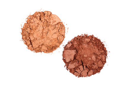 Crushed Powder Foundation For Makeup. Close Up Of Different Shades Of Broken Powder On White Background. Beauty Cosmetics Products. High Quality Image.