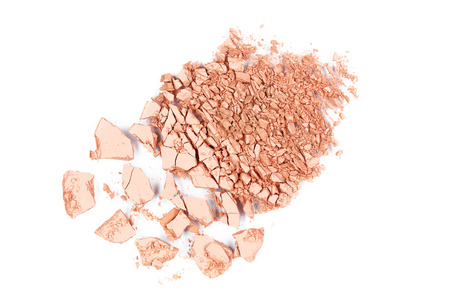 Crushed Powder Foundation For Makeup. Close Up Of Broken Powder On White Background. Beauty Cosmetics Products. High Quality Image.