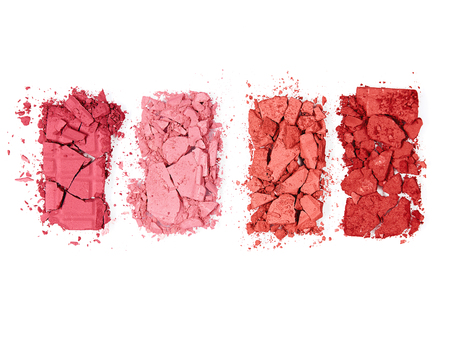 Colorful Crushed Blush Palette On White Background. Close Up Of Different Colors Powder Pressed Blushes. Makeup. Cosmetics Products. High Quality Image.