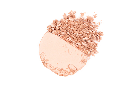 Powder. Crushed Facial Powder On White Background. Close Up Of Broken Powder For Makeup. Cosmetics Products. High Quality Image.