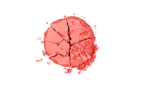 Crushed Pink Blush. Cosmetics Products For Makeup. Close Up Of Color Powder Pressed Blushes. Beauty Cosmetics Products. High Quality Image. Stok Fotoğraf