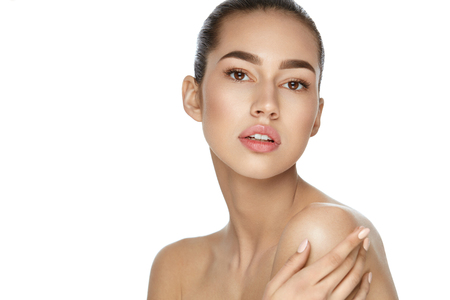 Portrait Of Sexy Woman With Natural Makeup And Healthy Fresh Skin On White Background.