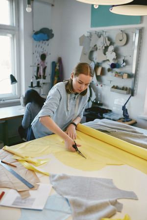 Tailor Cutting Fabric With Scissors In Atelier. Portrait Of Woman Making Clothes For Dogs, Cutting Textile On Table.
