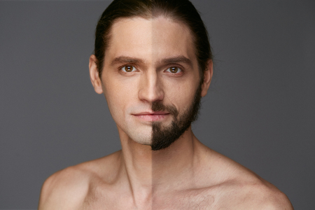 Shaving. Man With And Without Hair On Face  On Grey Background. High Resolution.