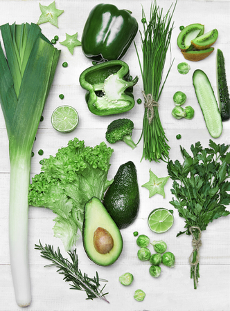 Food Background. Green Vegetables And Fruits On Wooden White Table Flat Lay. High Resolution.
