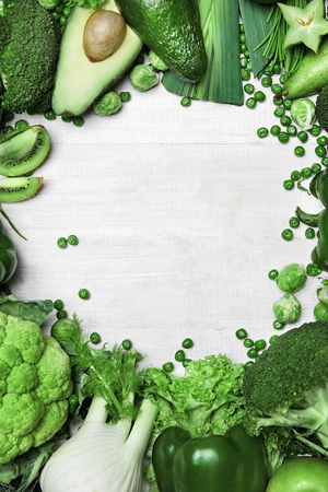 Green Vegetables On White. Healthy Food Ingredients On White Background. High Resolution.