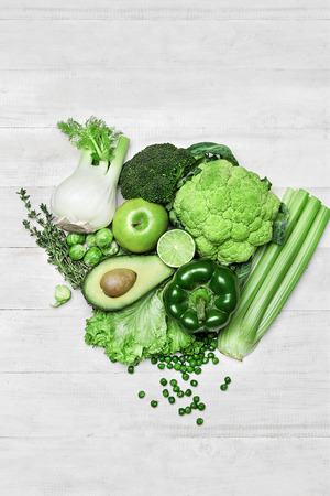 Organic Fresh Food Ingredients, Green Vegetables On White Background. High Resolution.