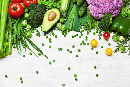 Healthy Food. Fresh Organic Vegetables On White Wooden Background. High Resolution Stock Photo