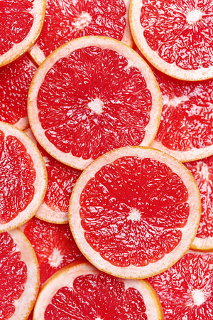 Fresh Citrus Fruits Slices Background. Top View. High Resolution.
