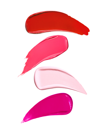 Liquid Lipstick Shades On White Background. Different Tones Of Lipsticks, Makeup Product Texture. High Resolution.