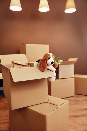 Moving Home. Carton Boxes With Toy And On Floor In Room. High Resolution.