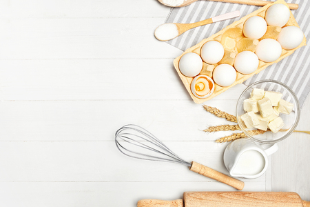 Baking Ingredients On White Table. Various Food Products For Bakery On Light Background. High Resolution Foto de archivo - 102731704