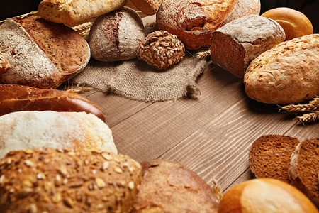 Food. Bread And Bakery Goods On Wooden Background. High Resolution