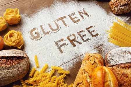 Gluten Free Food Products : Bread, Pasta, Bakery And Flour On Wooden Background. High Resolution