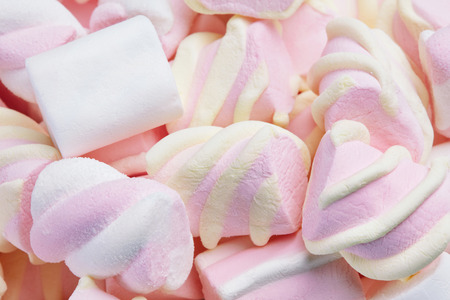 Marshmallows Candies On Background. Marshmallow Sweets Close Up Still Life. High Resolution