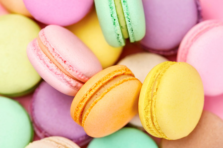 Colorful Macarons. Sweets Or Dessert Closeup Still LIfe. High Resolution
