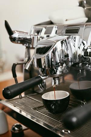 Coffee Machine Making Fresh Hot Coffee Drink In Cafe Closeup. High Resolution.