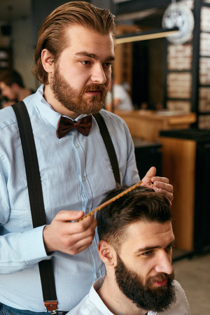 Men Hair Salon. Man Barber Doing Hairstyle In Barbershop. Handsome Male Client And Hairdresser. High Resolution Stock Photo