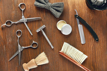 Mens Grooming Tools. Barber Shop Equipment And Supplies On Wood Table. Men Hair Salon Tools. High Resolution
