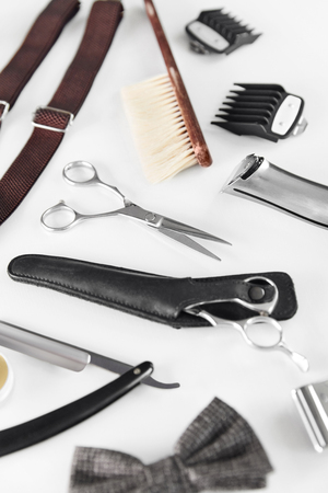 Barbershop Tools. Barber Supplies And Equipment On White Table In Men Hair Salon. Mens Grooming Tools. High Resolution