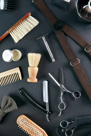 Barber Shop Tools And Equipment. Mens Grooming Tools And Accessory On Grey Background. High Resolution