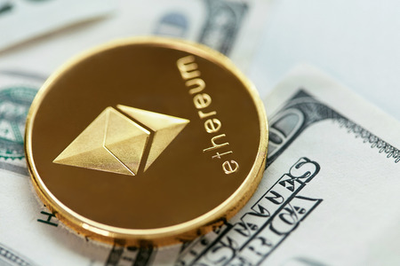 Ethereum Currency With Cash Close Up. Digital Currency Coin On Money Bills, Dollar Banknote. High Resolution