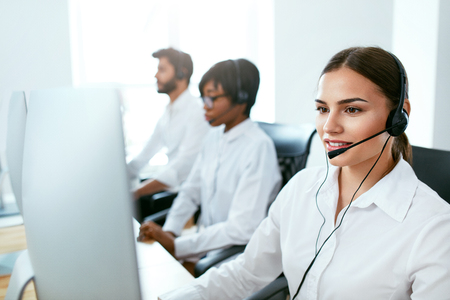Call Center Agent Ð¡onsulting Client Online. Attractive Woman Working With Customer On Hotline Support. High Resolution