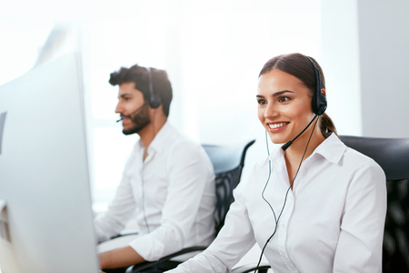 Online Support Center Operator Consulting Client Online. Attractive Woman Serving Customer On Hotline. High Resolution