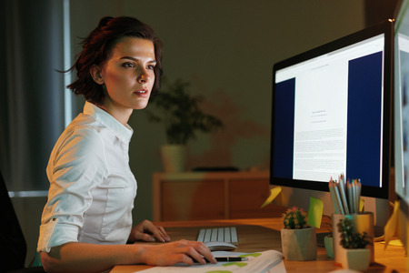 Innovation Technology. Programmer Creating Website. Woman Programming In Office. High Resolution Stok Fotoğraf