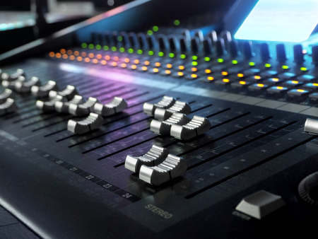 Sound Recording Studio Mixing Desk Closeup. Mixer Control Panel