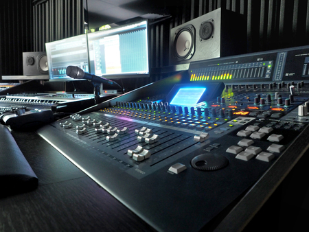 Sound Recording Studio With Music Recording Equipment