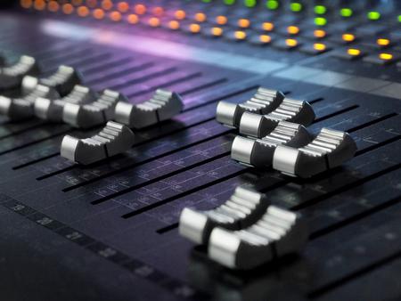 Sound Recording Studio Mixing Desk Closeup. Mixer Control Panel