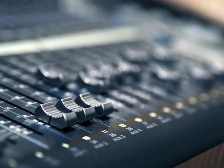 Music Mixer Control Panel In Recording Studio Closeup