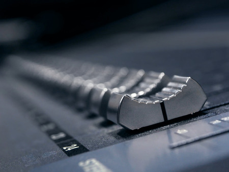 Music Mixer Control Panel In Professional Recording Studio. Closeup Of Sound Mixing Desk. High Resolution