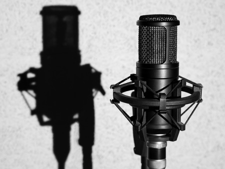 Microphone In Studio. Professional Black Sound Recording Microphone In Light On Grey Background. High Resolution