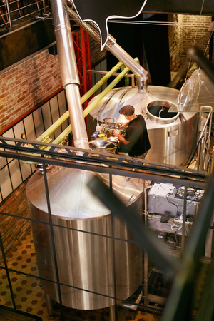 Beer Brewery With Modern Equipment. Craft Beer Brewing System On Manufacture. High Resolution