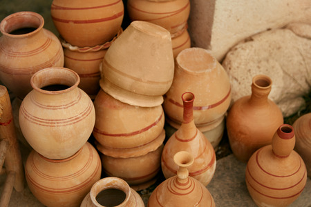 Pottery. Handmade Ceramic Clay Jugs Closeup, Heap Of Jars. High Resolution Stock fotó - 112825871